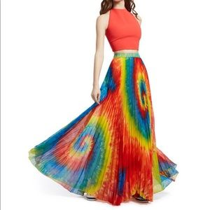 Alice & Olivia Shannon Tie Dye Pleated Maxi Skirt